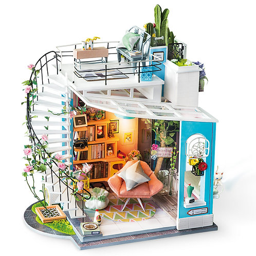 Miniature Dollhouse Kit with LED light - Dora's Loft