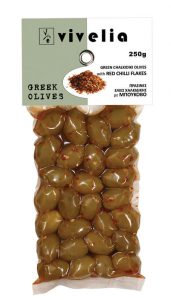 Green Whole Olives with Red Chilli 250gr
