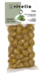 Green Whole Olives with Oregano 250gr