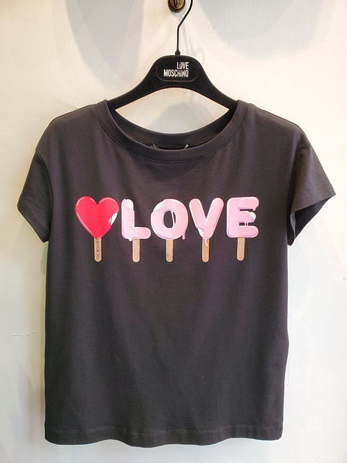 LOVE MOSCHINO Red Heart Black T