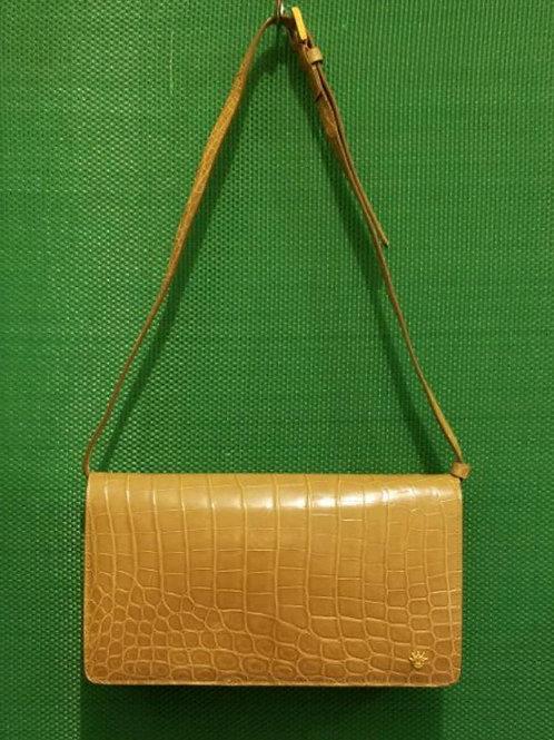 Luxury Kwanpen Beige Crocodile Skin Shoulder Bag
