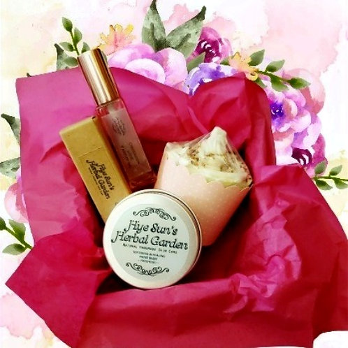 Christmas Gift Pack ~ Parfum (Rosy) with Cupcake Soap & Healing Hand Creme