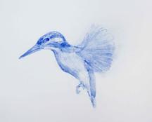 Hunting sketches, Martin-pêcheur, 2018, aquarelle sur papier, 20 x 20 cm © Ruth Gurvich