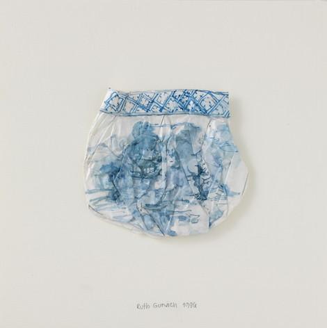 Vase avec un paysage bleu, 1996, papier, aquarelle, vernis, 21.5 x 21.5 cm  © photographe Pierre Verrier