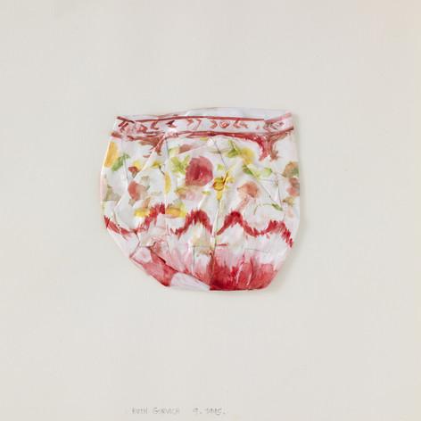 Vase rocaille à décor de fleurs, 1995, papier, aquarelle, vernis, 25.5 x 25.5 cm  © photographe Pierre Verrier