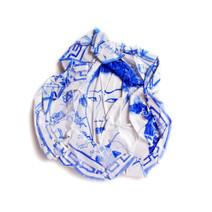 Portrait bleu aux fleurs, 2008, aquarelle s/papier, 27.5 x 27.5 cm  © photographe Ruth Gurvich