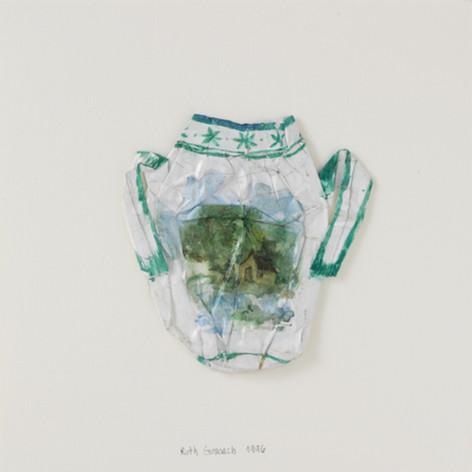 Vase à anses, 1996, papier, aquarelle, vernis, 21.5 x 21.5 cm  © photographe Pierre Verrier
