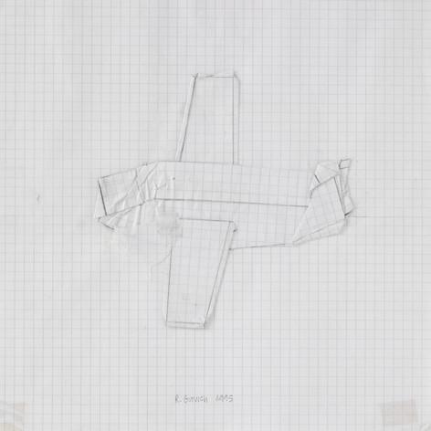 Avion, 1995, papier, mine de plomb, 21.5 x 21.5 cm  © photographe Ruth Gurvich
