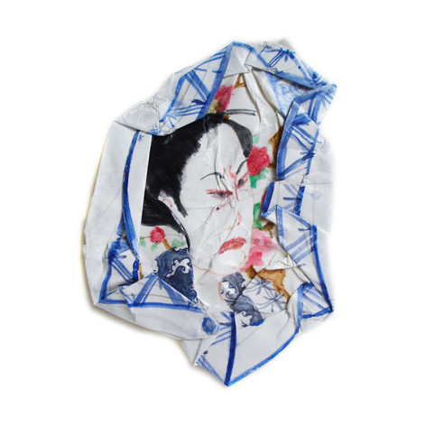 Portrait au kimono blanc, 2010, aquarelle s/papier, 27.5 x 27.5 cm  © photographe Ruth Gurvich