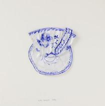 Tasse et coupelle bleues, 1996, papier, aquarelle, vernis, 25.5 x 25.5 cm  © photographe Pierre Verrier
