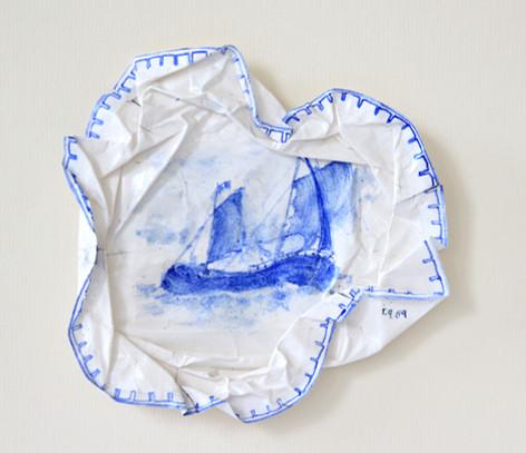 Traversé, 2009, aquarelle s/montage en papier, 25.5 x 25.5 cm  © photographe Ruth Gurvich