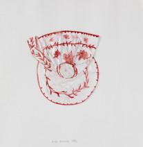Tasse et coupelle rouges, 1996, papier, aquarelle, vernis, 25.5 x 25.5 cm  © photographe Pierre Verrier