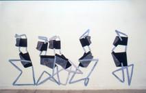 Collectivité, 1999, acrylique s/montage en papier, 160 x 300 cm  © photographe Gustavo Lowry