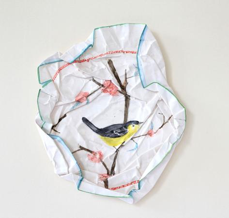 S/T oiseaux III, 2010, aquarelle s/montage en papier, 27.5 x 27.5 cm  © photographe Ruth Gurvich