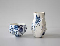Bol et petit vase, 2013, papier chinois imprimé, H 6.5 cm x Ø 9 cm, H 12.5 cm x Ø 9 cm Edition limitée (8, avec des papiers differents)  © photographe Ruth Gurvich