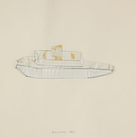 Bateau, 1991, papier, stylo à encre, crayon, ruban adhésif, 25.5 x 25.5 cm  © photographe Pierre Verrier