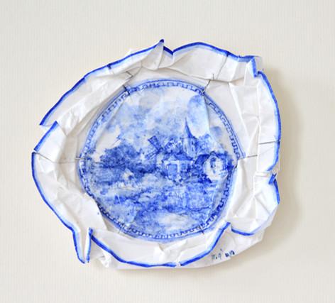 Petit Delft, 2009, aquarelle s/montage en papier, 27.5 x 27.5 cm  © photographe Ruth Gurvich