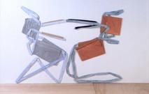 Stretching chairs, 1996, acrylique s/montage en papier, 110 x 200 cm