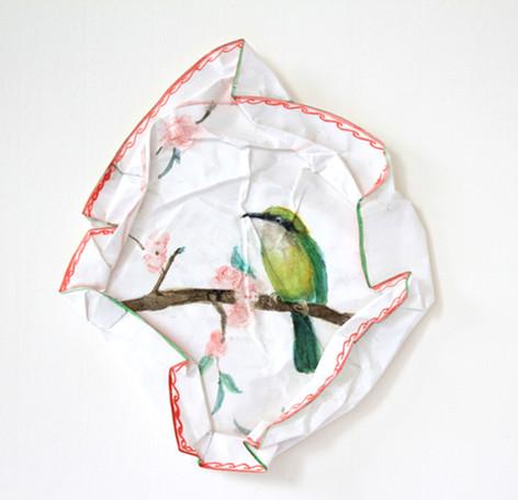 S/T oiseaux IV, 2010, aquarelle s/montage en papier, 27.5 x 27.5 cm  © photographe Ruth Gurvich