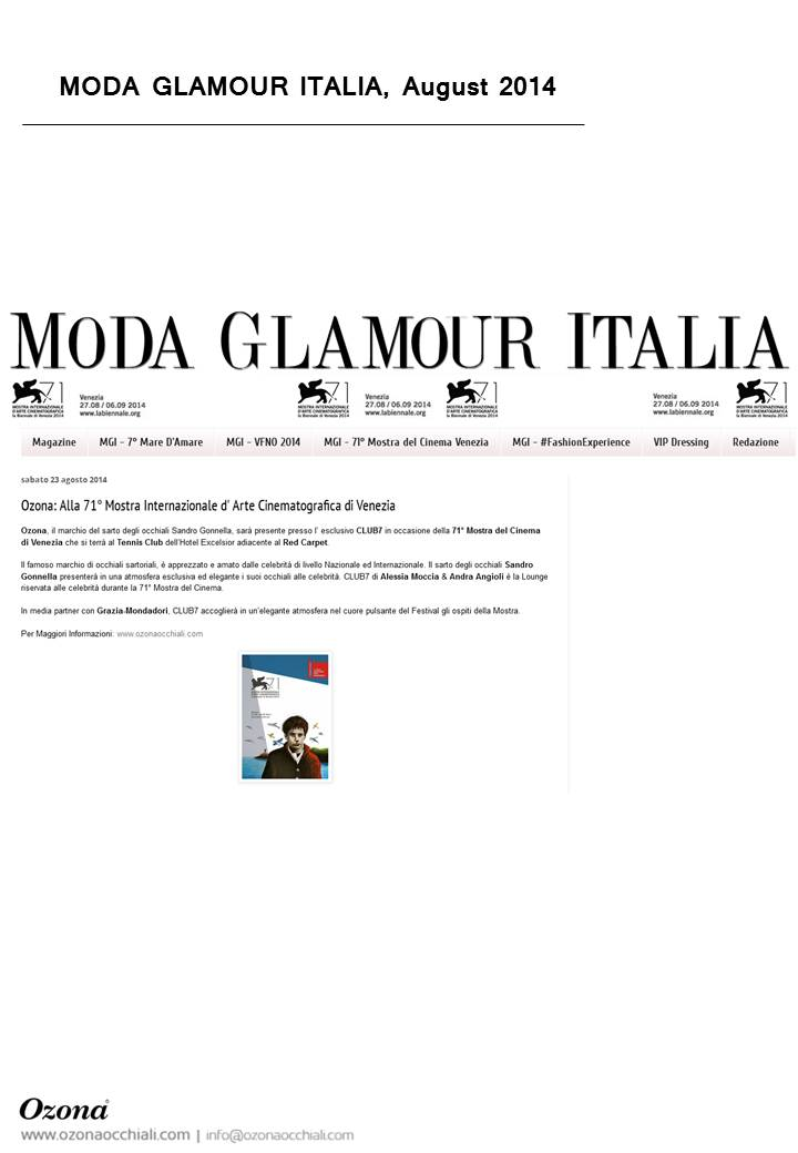 Moda Glamour Italia, August 2014