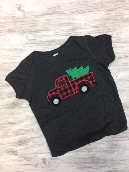 Plaid Christmas Truck T- YOUTH