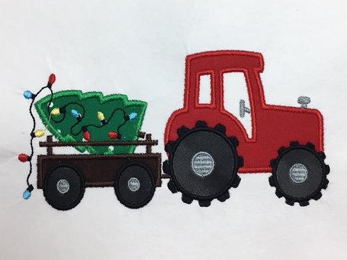 Christmas Tractor Applique