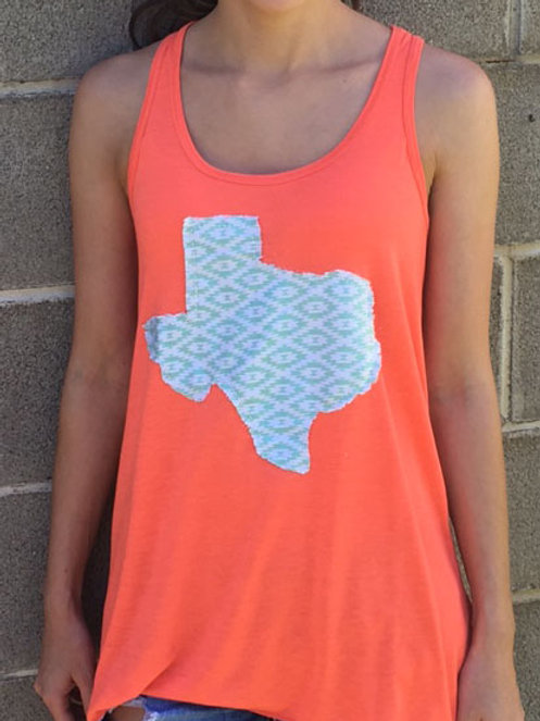 Coral with Raggy Mint Texas Tank