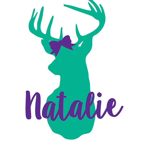 Deer with Name & Bow Decal