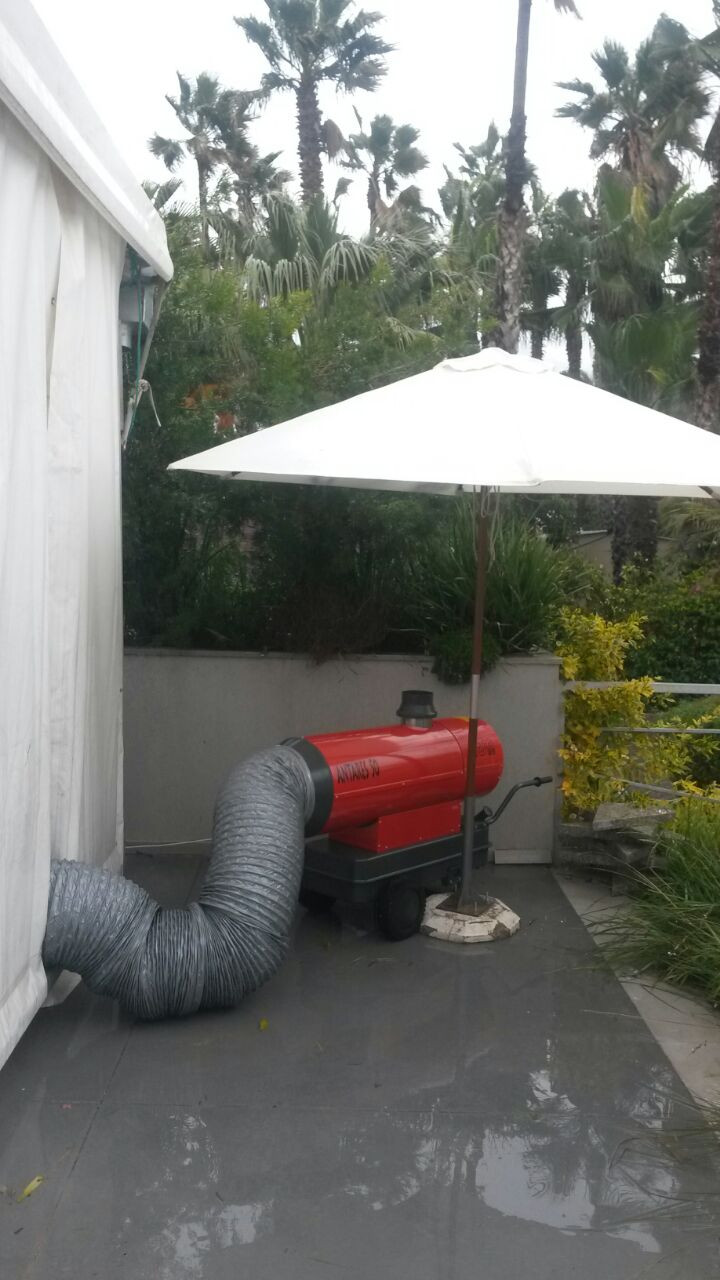 חימום אוהל ענק עם תותח חימום