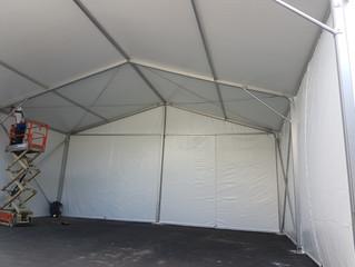 הקמת אוהל קונסטרוקציה במפעל תמה קיבוץ משמר העמק