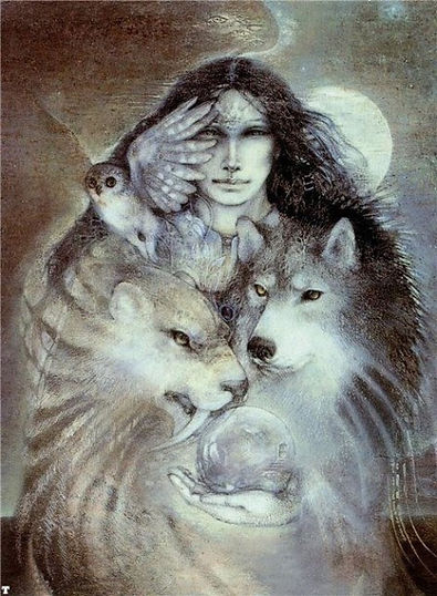 Woman with animal guides: owl, sabortooth tiger, wolf. Crystal ball of intuition, and full moon of magic and wisdom.