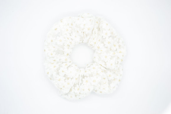 Kids Lace Scrunchie-white