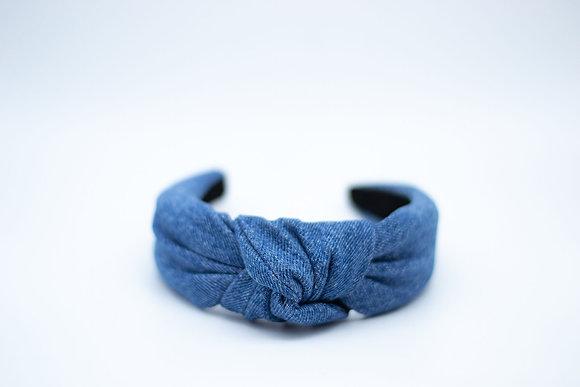 Knotted Headband-denim upcycled