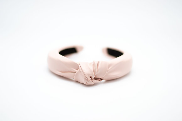 Kids Headband-vegan leather pale pink
