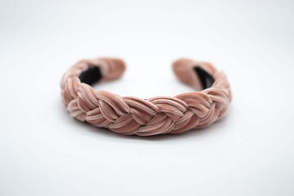 Braided Velvet Headband-dusty rose