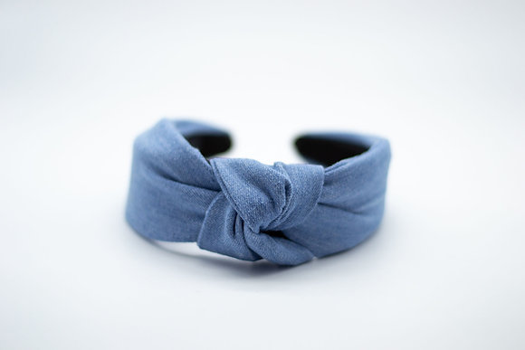 Knotted Headband-revived denim