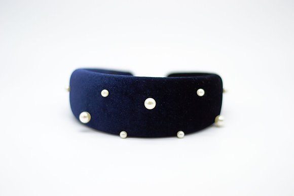 Padded Pearl Headband-regal blue