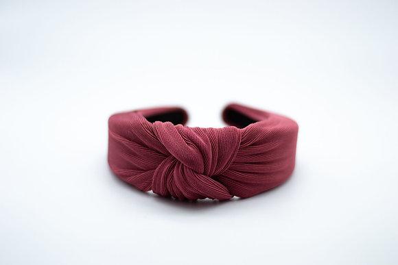 Textured Knit Headband-cranberry