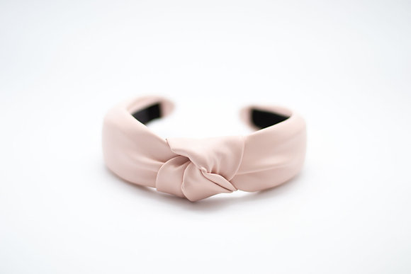 Vegan Leather Headband-pale pink