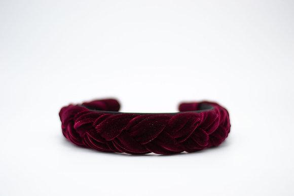 Braided Velvet Headband-merlot
