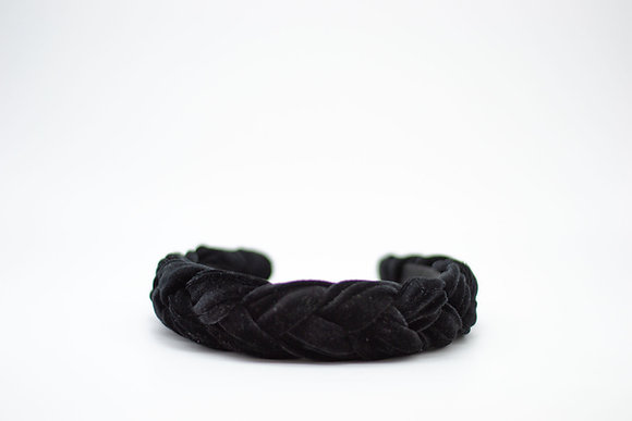 Braided Velvet Headband-black