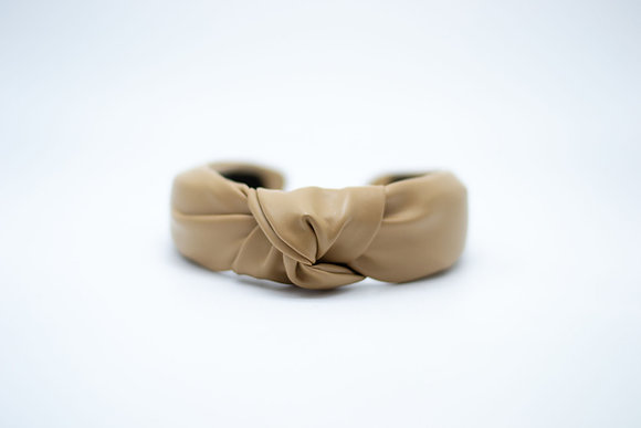 Vegan Leather Headband-khaki
