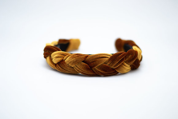Braided Velvet Headband-amber