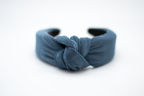 Textured Knit Headband-steel blue
