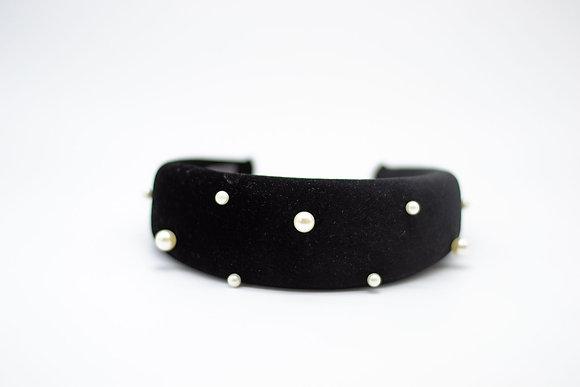 Padded Pearl Headband-black