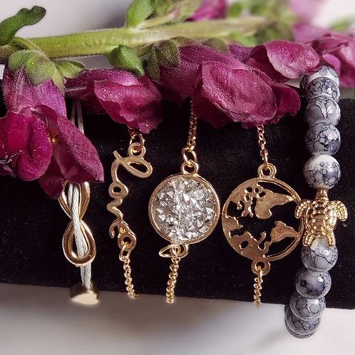 World Of Love Bracelet 5 Piece Set