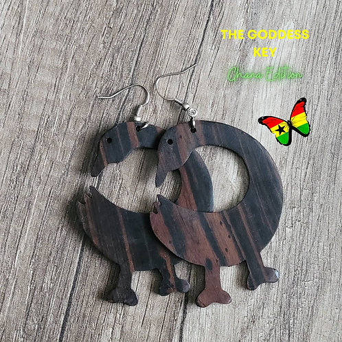 Sankofa Wooden Authentic African Earrings