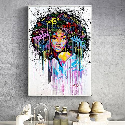 Modern Goddess Graffiti Art Canvas Paintings
