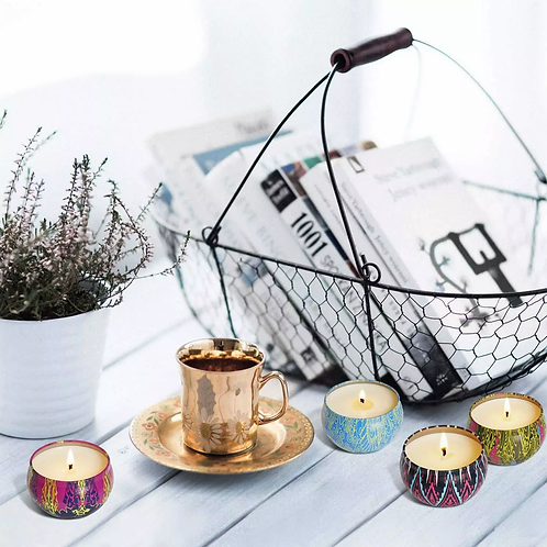 Handmade Scented Candles With Flowers Tin Can Fragrance