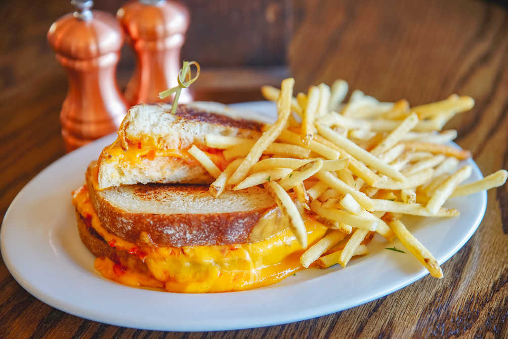 Vegan grilled cheese with fries